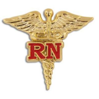 RN Registered Nurse Gold Caduceus Red Medical Badge Pin