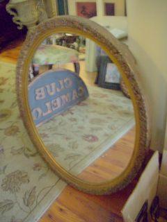 Antique w Large Oval Mirror Medicine Bathroom Cabinet Art Deco