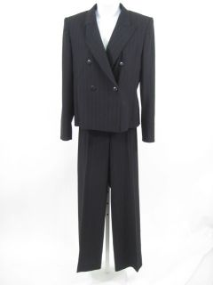 Max Mara Black Pinstriped Wool Pant Suit Size 6