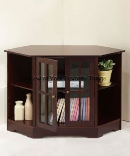 ESPRESSO BROWN MEDIA STORAGE CABINET TWO DOOR CORNER TV STAND HOME