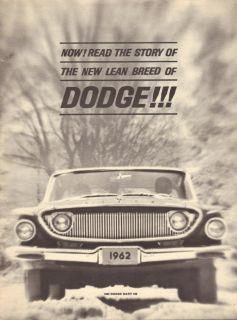 1962 Dodge Dart Dealer Brochure The New Lean Breed of Dodge