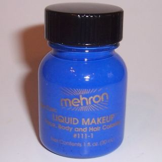 Blue Body Hair Liquid Makeup Mehron Face Paint Color Halloween Costume
