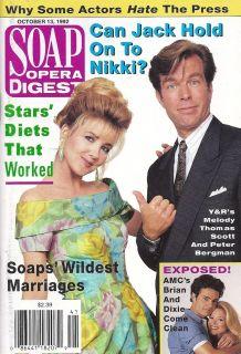 Melody Thomas Scott Peter Bergman October 13 1992 Soap Opera Digest