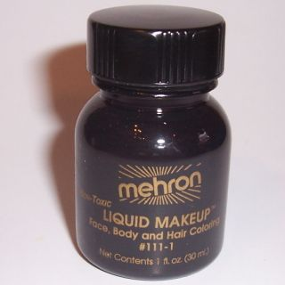Black Body Hair Liquid Makeup Mehron Face Paint Color Halloween