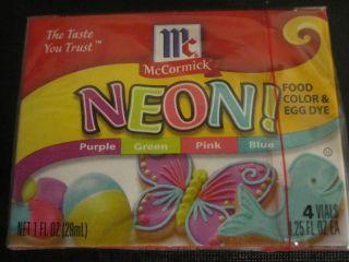 Assorted Neon Food Coloring McCormick 4pk Purple Green Pink Blue