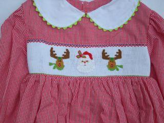Smocked Sz4 Christmas Dress by Mom N` Me Red Checks Reindeer Santa