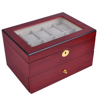 20 Watch Organizer Display Case Rose Wood Glass Top Jewelry Box