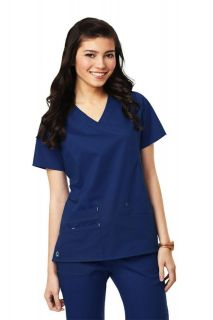 Medical Scrubs Navy Blue Maevn Stretch Fit Y Neck Top New Sizes XS 2XL