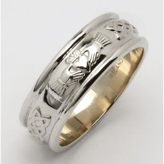 Sterling Silver Mens Claddagh Wedding Ring 7mm
