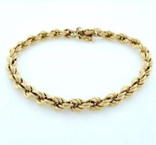 Mens 14k Yellow Gold Rope Bracelet Fine Jewelry 8 8g 6mm 7 3 4