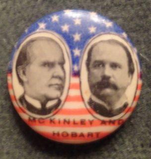 McKinley Hobart 1896 Pinback Pin