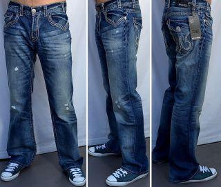 MEK Denim Mens Jeans Meknes Boot Cut Saddle Stitch New Medium Blue 31