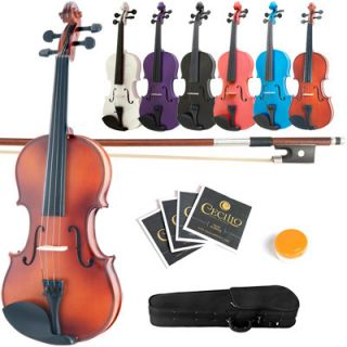 Mendini Violin ~4/4 3/4 1/2 1/4 1/8 1/10 1/16 1/32 Solid Wood ~Black