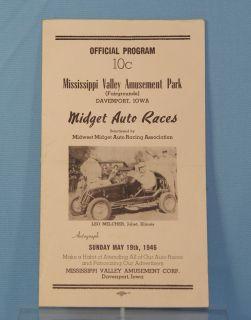 1940s Midget Auto Races Racing Program Leo Melcher Joliet IL Davenport