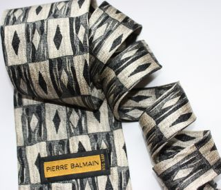 Pierre Balmain Men Silk Black Cream Tie Made in USA 60 Long 2291