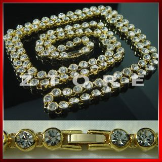 mens CZ Gold Chain Necklace★iced Out★hiphop★bling★gci1