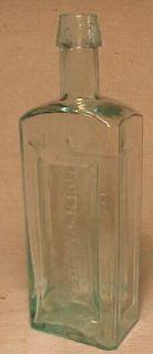 C1860s Dr E R Knights Melrose Mass RARE Aqua Medicine Bottle
