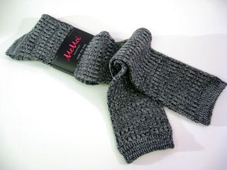 Memoi Ladies Over Knee Socks Spacedye Rib Weave Variegated Black White