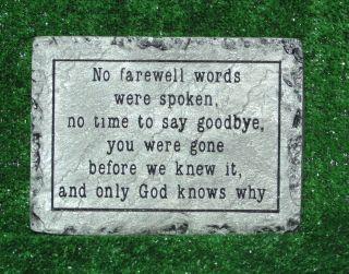 Memorial plaque / Memorial stone / Garden / Yard / Home decor