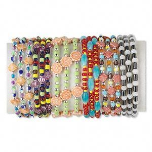 12 Bracelet Mix Acrylic and Coil Memory Wire