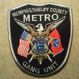 Memphis Shelby County Tennessee Metro Gang Unit Police Patch TN