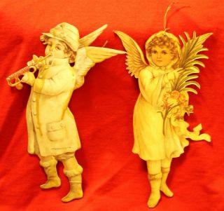 Merrimack Boy and Girl Vintage Cardboard Angels 1986