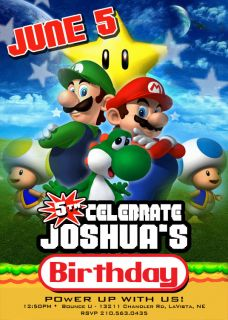 Custom Super Mario Bros Birthday Invitations Invites
