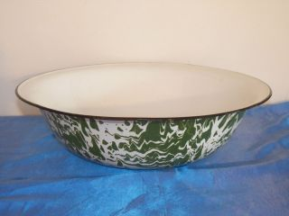 Antique Vintage Green Swirl Extra Large 16 Enamelware Graniteware Bowl