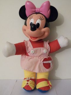 Vintage Play Dress Up Stuffed Plush Minnie Mouse Toy Disney