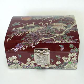 Pearl Mens Red Lacquer Wood Jewelry Treasure Keepsake Decorative Box