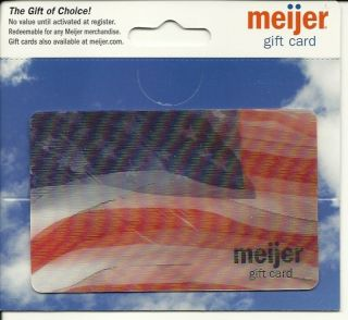Meijer Lenticular U s A Flag Gift Card No $ Collectible