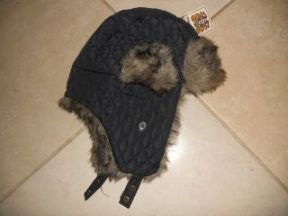 Rivington Mott Bomber Aviator Trapper Ear Flaps Hat Fur Trim Warm NWT