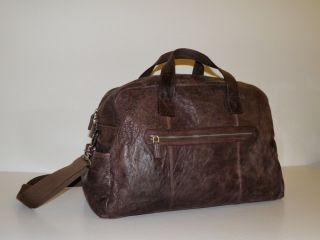 Cole Haan Mens Dark Brown Leather Merced Weekender Carryon Travel Bag