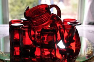 Vintage Anchor Hocking Glass Royal Ruby Red Pitcher and Tumblers