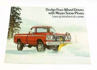 1977 77 Dodge 4x4 Truck w Meyer Snow Plow Brochure W200