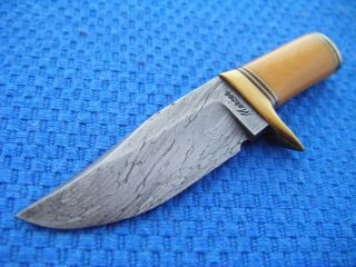Handmade Custom Damascus Bowie Art Knife Mini by Mike Mercer