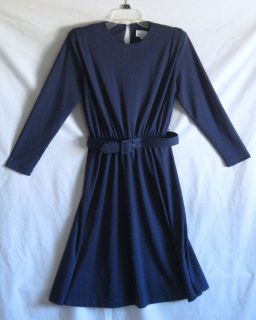Womens ( Meryl Fashions ) Navy Blue , Long Sleeve Dress with Belt Sz
