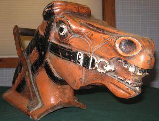 ANTIQUE CAST IRON HORSE HEAD CIRCUS FAIR TRADE SIGN FOLK ART ORIGINAL