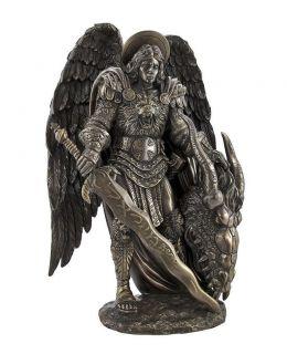 Rare Bronze Protector St Saint Michael Angel Statue Figure 11