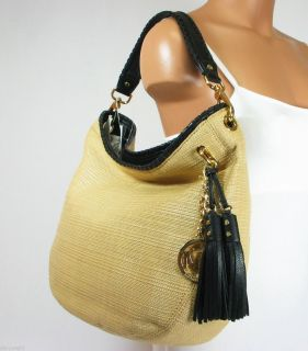 Michael Kors Bennet Large Soft Straw Shoulder Natural Black Bag Hobo $