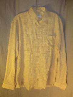 New Michael Brandon Chemise Mens LS Yellow Plaid Shirt
