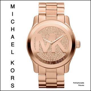 New 2012 Michael Kors Rose Gold Crystal MK Logo Dial MK5661 Womens