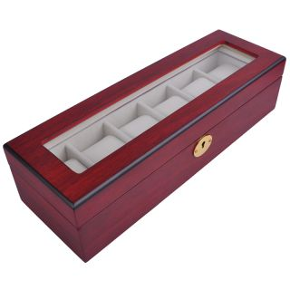 Watch Organizer Display Case Rose Wood Glass Top Jewelry Box Storage