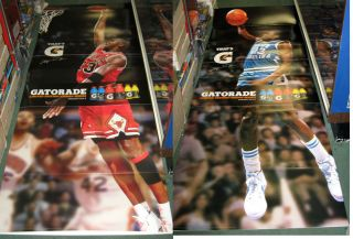 MICHAEL JORDAN 7 FOOT GATORADE DUAL SIDED BULLS NORTH CAROLINA STANDUP