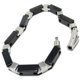 Black Silver Tone Stainless Steel Mens Bracelet 8 66 A15336