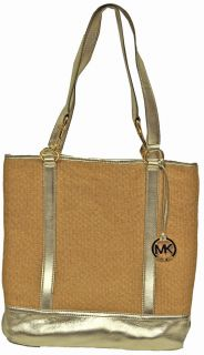 Michael Kors Summer Shoulder Straw Tote Bag Gold