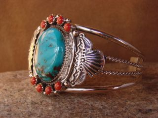 Turquoise Coral Sterling Silver Bracelet by Michael Calladitto
