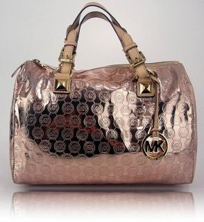 Michael Kors Womens Handbag Rose Gold Monogram Grayson Satchel Purse