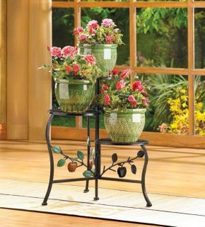 Apple Plant Stand Raw Wrought Iron 3 tier Shelf Garden Shelves Outdoor