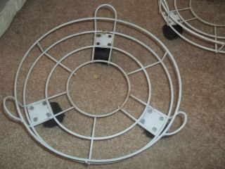 Vintage White Metal Rolling Plant Stands Holders w Wheels